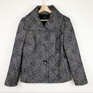 Talbots Plaid Peacoat 12 Black White Wool Coat
